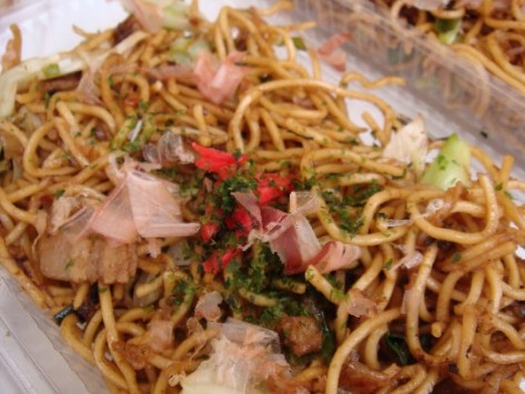 Yakisoba. Fried buckwheat, flavoured with a sauce that is more or less a mix of oyster sauce and thickened Worstershire sauce.
