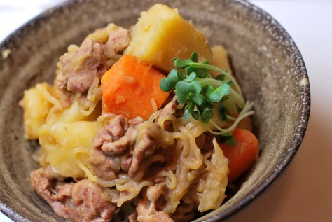 Nikujaga. A Japanese dish of meat, potatoes and onion stewed in sweetened soy sauce.