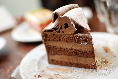 Annatorte, a signature cake of Café Demel, famous also for its Sachertorte. Layers of chocolate sponge and chocolate butter cream, with a strong chocolate taste and a hint of hazelnut.