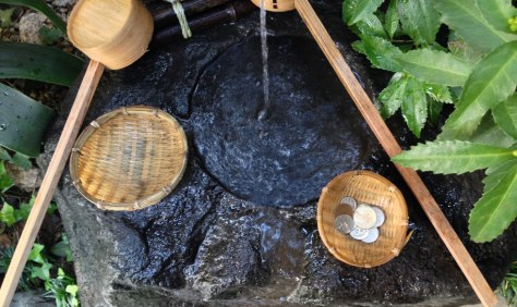 """Zeniarai Benten Shrine (銭洗弁天) is a popular shrine in western Kamakura, which people visit to wash their money (zeniarai means """"coin washing""""). It is said that money washed in the shrine's spring, will double."""